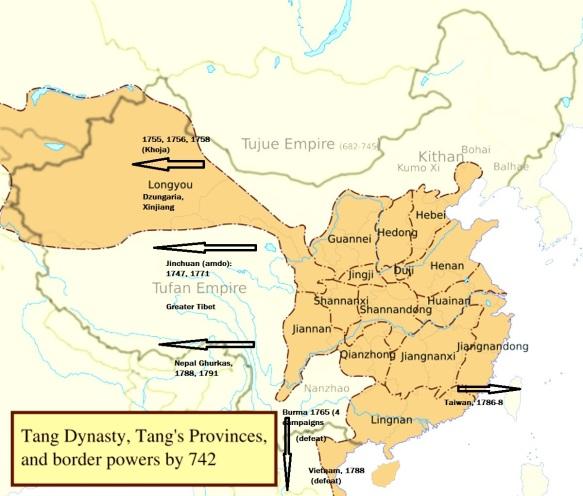 map Tang China overlaid QL campaigns