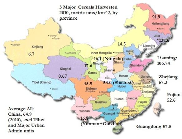 mapofchinaprovinces w yields p km